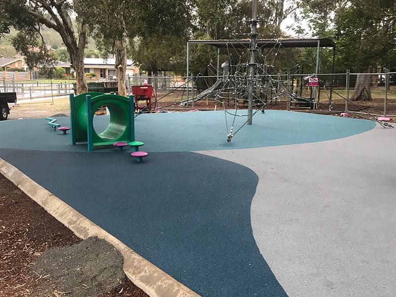 Council Playground renovation wet rubber details