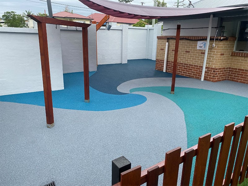 Rubber Wetpour for patio on child care centre